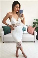 Vestido Midi Colcci Tule Bordado - Off White