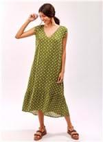 Vestido Midi Decote V Padrao Mel Verde Escuro G