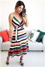 Vestido Midi Dress To Estampa Listra Tanger