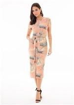 Vestido Mídi Estampado com Amarração e Fenda Frontal