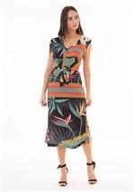 Vestido Mídi Estampado com Amarração Frente - Preto Lencos Estrelicia P