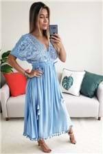 Vestido Midi Farm Bordado Espelhos - Azul
