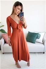 Vestido Midi Farm Decote Nozinho Dendê - Vermelho