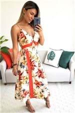 Vestido Midi Farm Flora Linda Valentina - Bege
