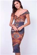 Vestido Midi Lança Perfume Farbiges Glas - Multicolorido