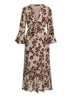 Vestido Midi Margaret de Seda Estampado Nude Tamanho 38