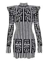 Vestido Mini New Shoulder Hierogl Preto e Branco Tamanho 36