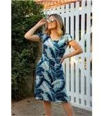 Vestido Pau a Pique Estampado Manga Evasê Azul AZUL - P