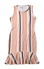 Vestido Peplum Listrado Malwee Rosa Claro - G