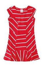 Vestido Peplum Malha Listrada Menina Malwee Kids Vermelho - 4