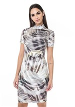 Vestido Prene Estampado Animal - Off C/ Preto Zebra Manchada P