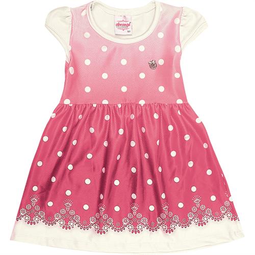 Vestido Primeiros Passos Abrange Bolinhas Natural e Pink 02