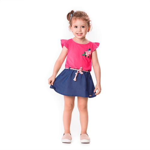 Vestido Primeiros Passos Cata-Vento 2 em 1 Pink e Jeans Claro 01