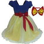 Vestido Princesa Rubi Infantil Luxo para Festa com Strass e Tiara