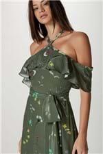 Vestido Seda Decote Cruzado Flor Hanoi V Est Ramos Hanoi Verde - 38