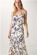 Vestido Seda Longo Recortes Respingos Estampado - 36