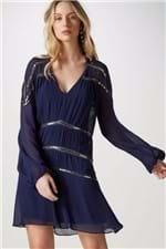 Vestido Seda Moedas Bordadas Azul - 36