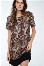 Vestido T-Shirt Básico Tribal Est Tribal Marrom e Preto - 36