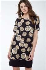 Vestido T-Shirt Pois Batik Areia Est Pois Batik Preto e Areia - 36