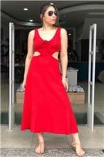 Vestido Vazado Vermelho Hibisco Farm - P