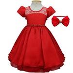 Vestido Vermelho de Luxo Rodado Infantil com Pérolas e Tiara