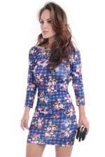 Vestido Xadrez Floral VE0648 - P