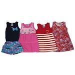 Vestidos e Macaquinho Bebê Kit com 4 Unidades Azul Marinho, Pink, Vermelho e Laranja-1
