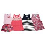 Vestidos e Macaquinho Bebê Kit com 4 Unidades Rosa, Salmão, Azul Marinho e Rosa-2