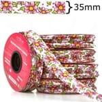 Viés Estampado Largo 35mm 20 Metros - Chita Branco com Pink