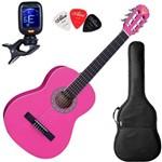 Violao Nylon Phx Juvenil 3/4 Px34 Rosa Pink Afinador e Bag
