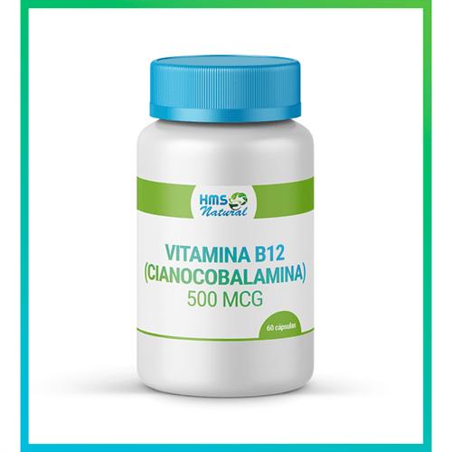 Vitamina B12 (cianocobalamina) 500 Mcg Cápsulas Livre de Alergênicos 60cápsulas