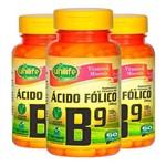Vitamina B9 (Ácido Fólico) - 3 Un de 60 Cápsulas - Unilife
