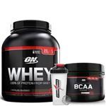 Whey 100% 2,04kg (4,5lb) Baunilha + Bcaa 300g Sem Sabor Optimum Nutrition + Coqueteleira