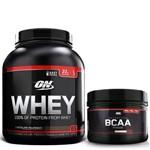 Whey 100% 2,04kg (4,5LB) Baunilha + Bcaa 300g Sem Sabor Optimum Nutrition