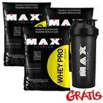 Whey Pro 1,5kg Combo 3x + Coqueteleira Max Titanium