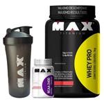 Whey Pro 1 Kg + Bcaa 2400 + Coqueteleira Max Titanium