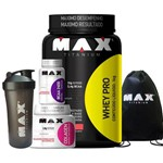 Whey Pro 1kg + BCAA 100c + Colagen + Coqueteleira + Mochila Max Titanium