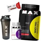 Whey Pro 1kg + Bcaa + Barra Proteina + Coqueteleira Max Titanium