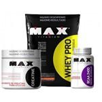 Whey Pro Max 1,5kg Refil Morango + Creatina + Bcaa