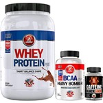 Whey Protein - Chocolate - 1 Kg + Caffeine Black Jack - 90 Caps + Bcaa Heavy Bomber 300 Caps Usa