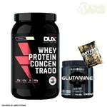 Whey Protein Concentrado 900g Coco Dux Nutrition + Glutamina 300g Black Skull + Dose