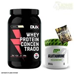 Whey Protein Concentrado 900g Banana Dux Nutrition + Glutamina 300g Muscle Pharm + Dose