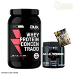 Whey Protein Concentrado 900g Cookies Dux Nutrition + Glutamina 300g Black Skull + Dose
