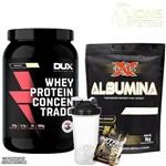 Whey Protein Concentrado 900g Morango Dux + Albumina 1kg Morango + Shaker + Dose de Suplemento