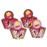 Wrapper Cupcake C/ Enfeite Minnie Vermelha C/ 12 Unds
