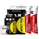 2x Hipercalórico Mass Titanium 17500 + 2x Whey Pro + Creatina Max Titanium