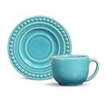 Xícara de Chá com Pires Cerâmica Atenas 6 Peças Porto Brasil Azul