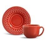 Xícara de Chá com Pires Cerâmica Pérgamo 6 Peças Porto Brasil Vermelho